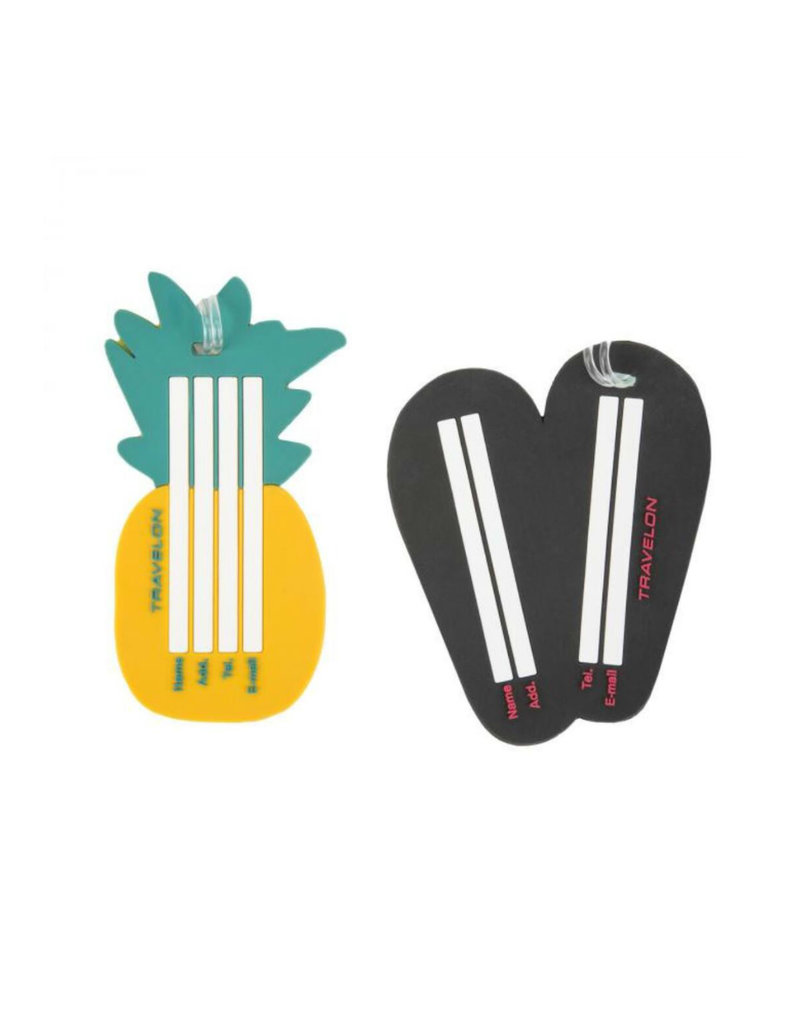 TRAVELON 13243 Set of 2 Luggage Tags -Pineapple and Flip Flops