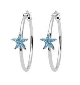 SHANORE Starfish Hoop Earrings With Aqua Swarovski® Crystals