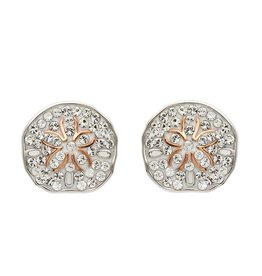 SHANORE Rose Gold Sand Dollar Earrings With Aqua Swarovski® Crystals