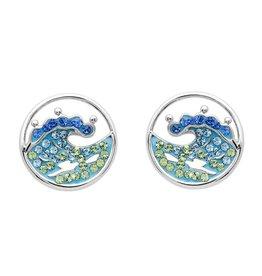 SHANORE Blue Wave Stud Earrings With Aqua Swarovski® Crystals