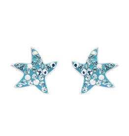 SHANORE Dancing Starfish Stud Earrings With Aqua Swarovski® Crystals