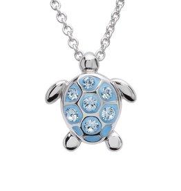SHANORE Sea Turtle Necklace With Aqua Swarovski® Crystals – Small Size
