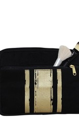Travel Kit Black With Gold Paintstroke Stripes