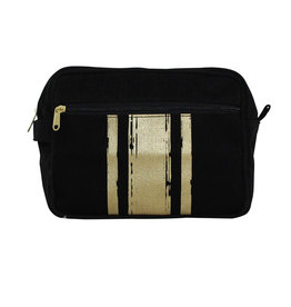 Travel Kit Black With Gold Paintstroke Stripes
