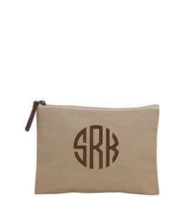 Monogrammed Jute Cosmetic Bag
