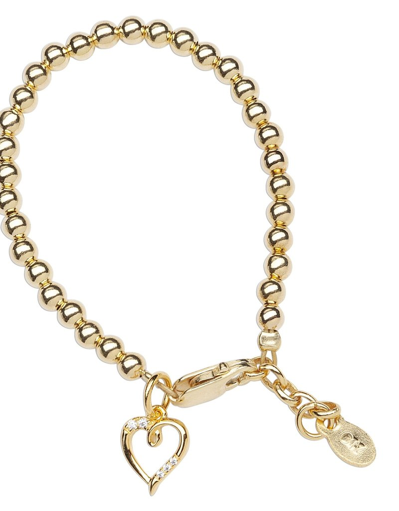 Aria - 14K Gold Plated Bracelet with Heart Charm SMALL