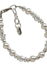 Hope - Sterling Silver Pearl and Crystal Bracelet Medium