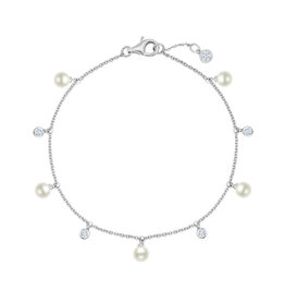 CRISLU 9011936B70PL Genuine Pearl Multi Station Bracelet accenetd with Bezel Set Flawless CZ In Pure Platinum