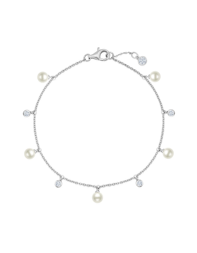 CRISLU 9011936B70PL Genuine Pearl Multi Station Bracelet accenetd with Bezel Set Flawless CZ In Pure Platinum