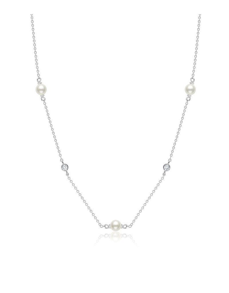"""CRISLU 9011939N16PL Genuine Pearl 16""""Multi Station Station Necklace accented with Bezel Set Flawless Cubic Zirconia In Pure Platinum"""
