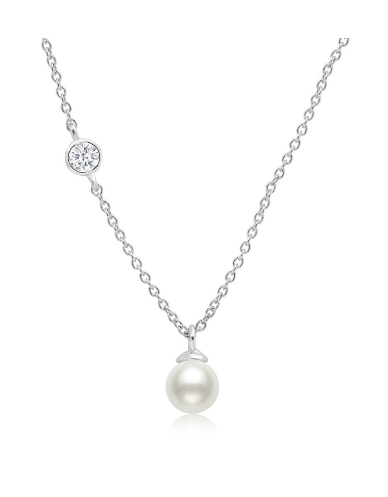 CRISLU 9011942N16PL Genuine Pearl Drop Pendant accented with Bezel Set Cubic Zirconia In Pure Platinum