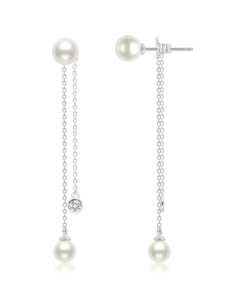 CRISLU 9011945E00PL Genuine Pearl Station LInear Earring accented with Bezel Set Flawless CZ In Pure Platinum