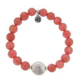 T JAZELLE PINK CORAL-WHITE PEARL COIN