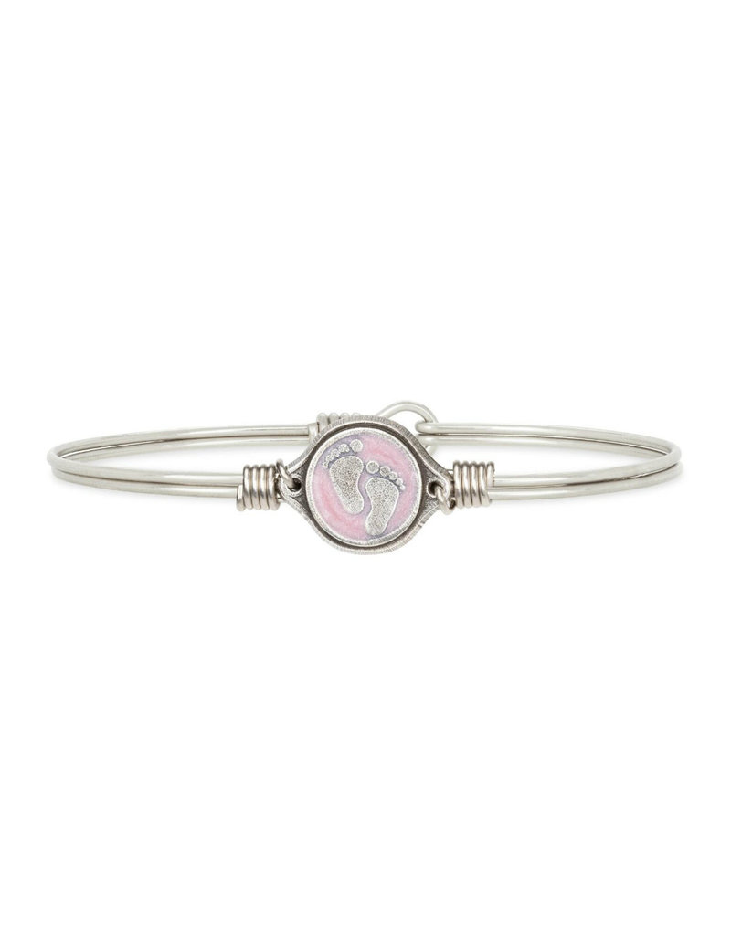 LUCA AND DANNI STC862S PINK BABY FEET BRACELET SILVER TONE REGULAR