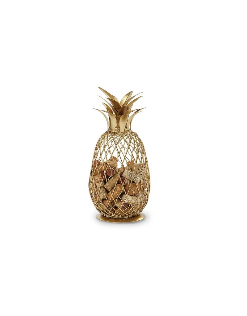 Golden Pineapple shaped Cork Cage- Holds Over 100 Corks