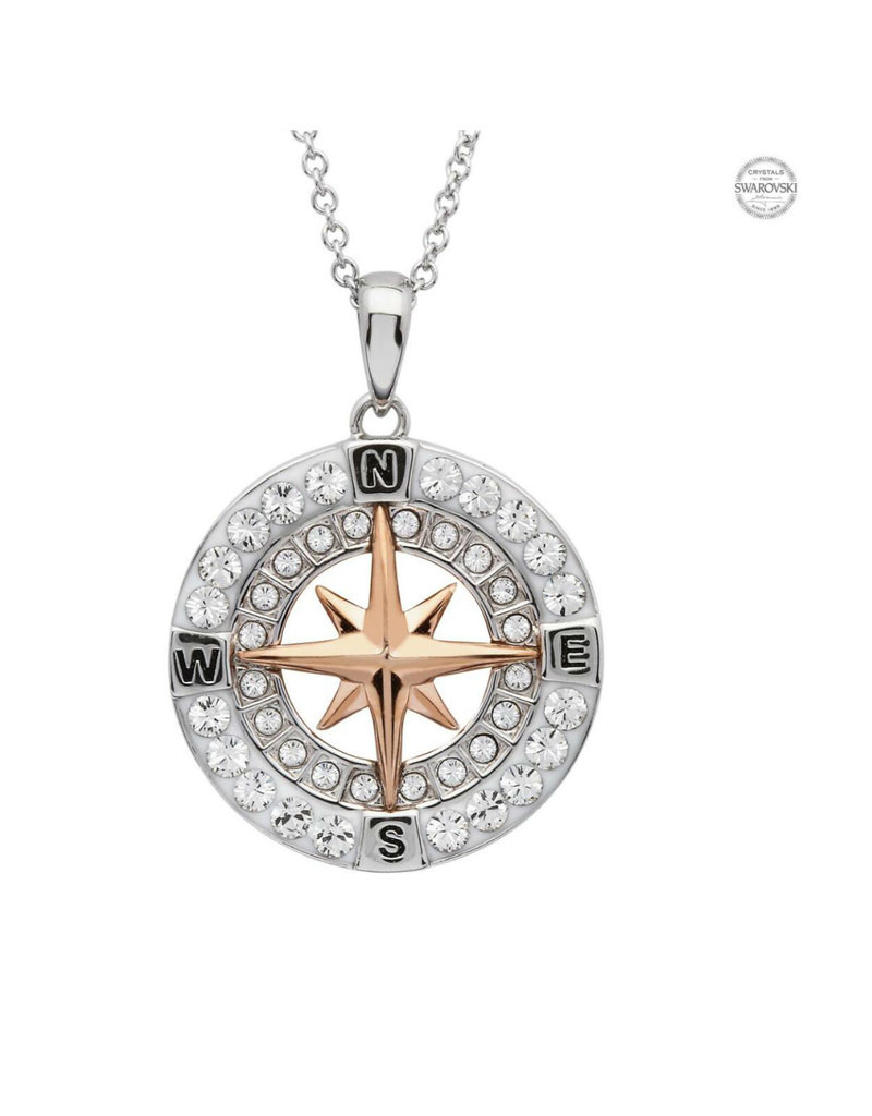 SHANORE Compass and Rose Gold Pendant with Swarovski crystals