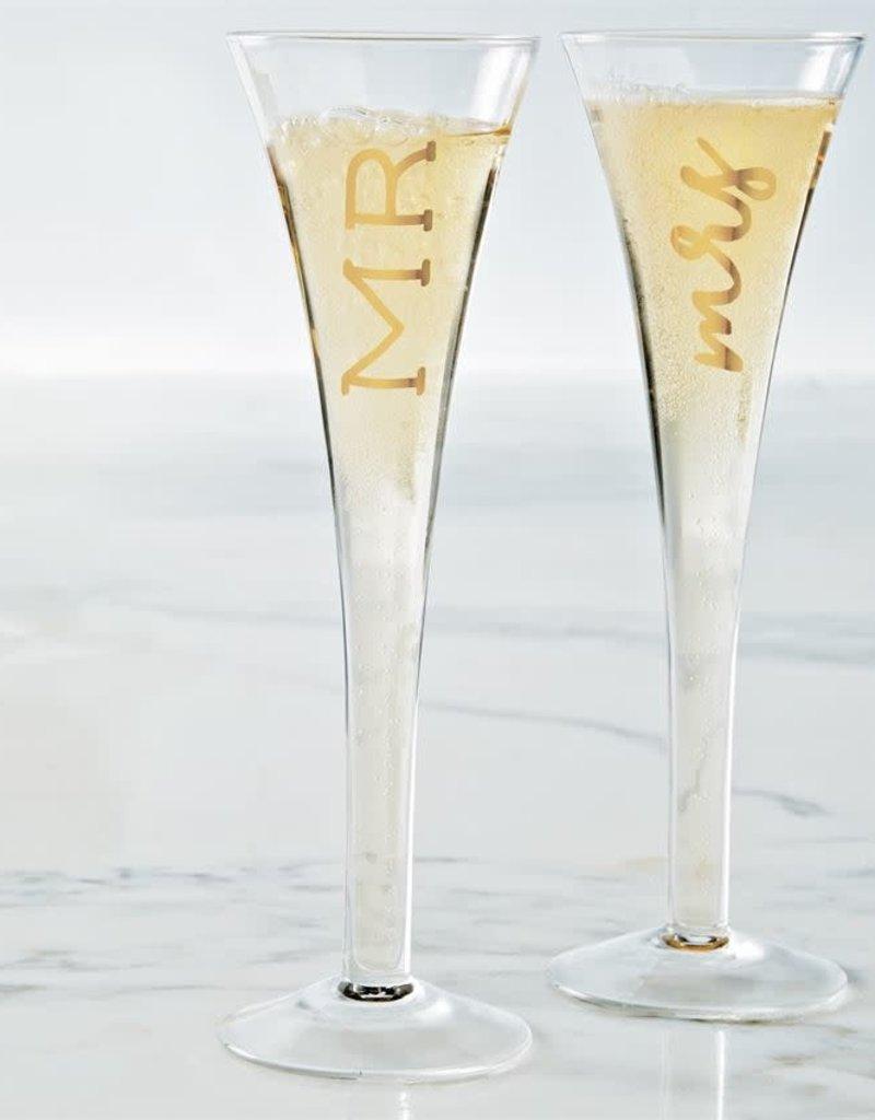 MUD PIE 44600041 MR. & MRS. CHAMPAGNE GLASS SET