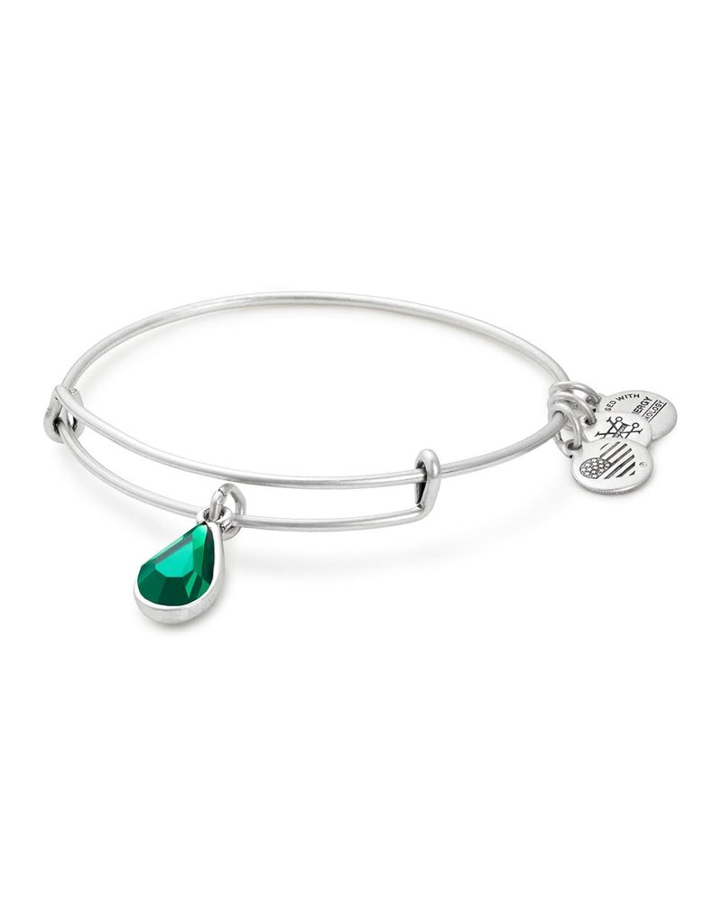 ALEX AND ANI A17EB44RS SWAROVSKI TEARDROP COLOR CODE EWB, MAY, EMERALD COLOR, RS