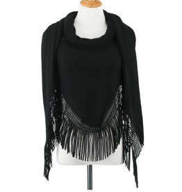 DEMDACO TRIANGLE KNIT SCARF WITH FRINGE - BLACK