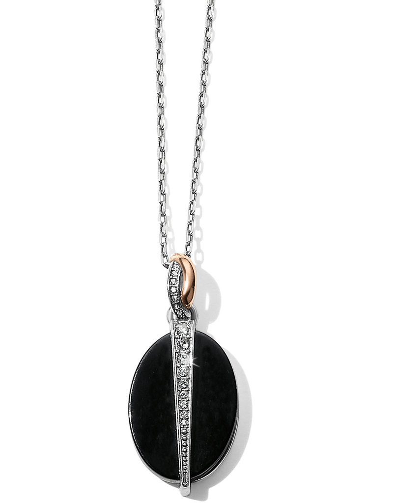 BRIGHTON JM194D Neptune's Rings Oval Black Agate Reversible Short Necklace