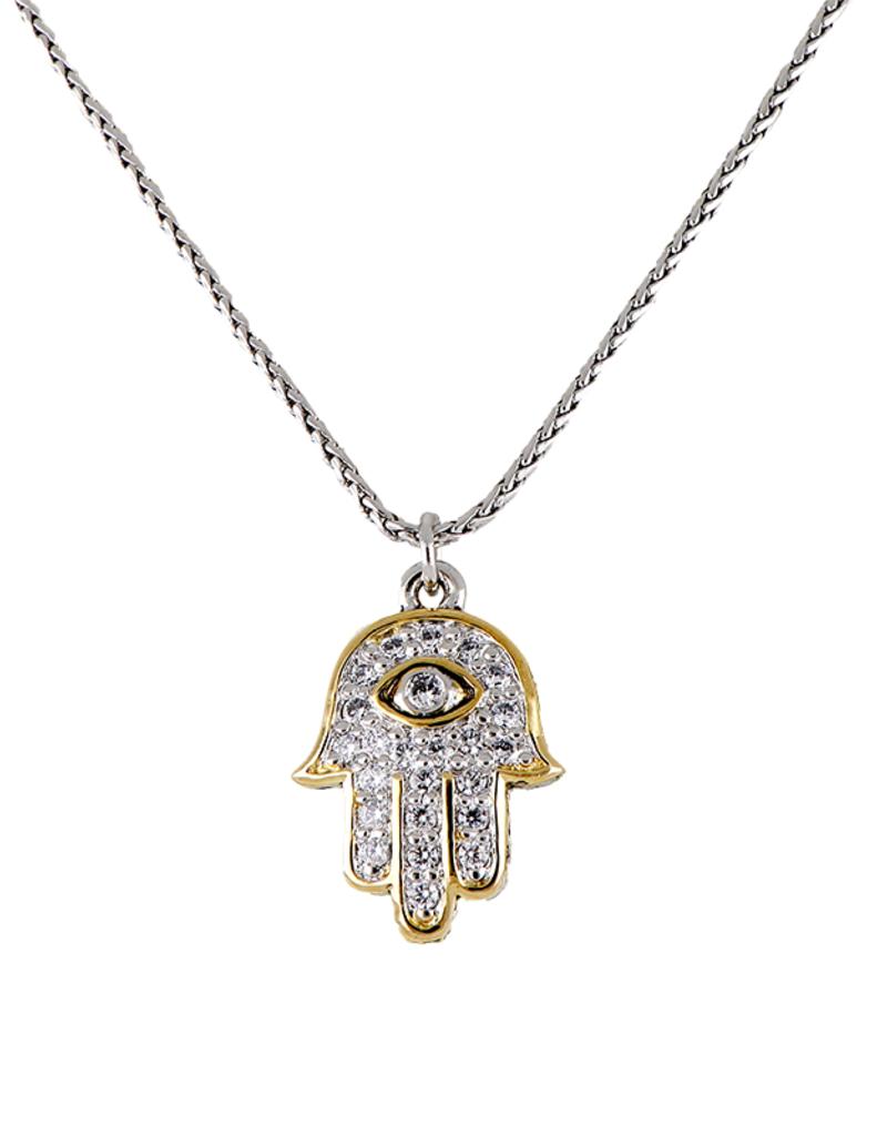 JOHN MEDEIROS K5290-AF03 Hamsa Hand Pave Pendant Necklace