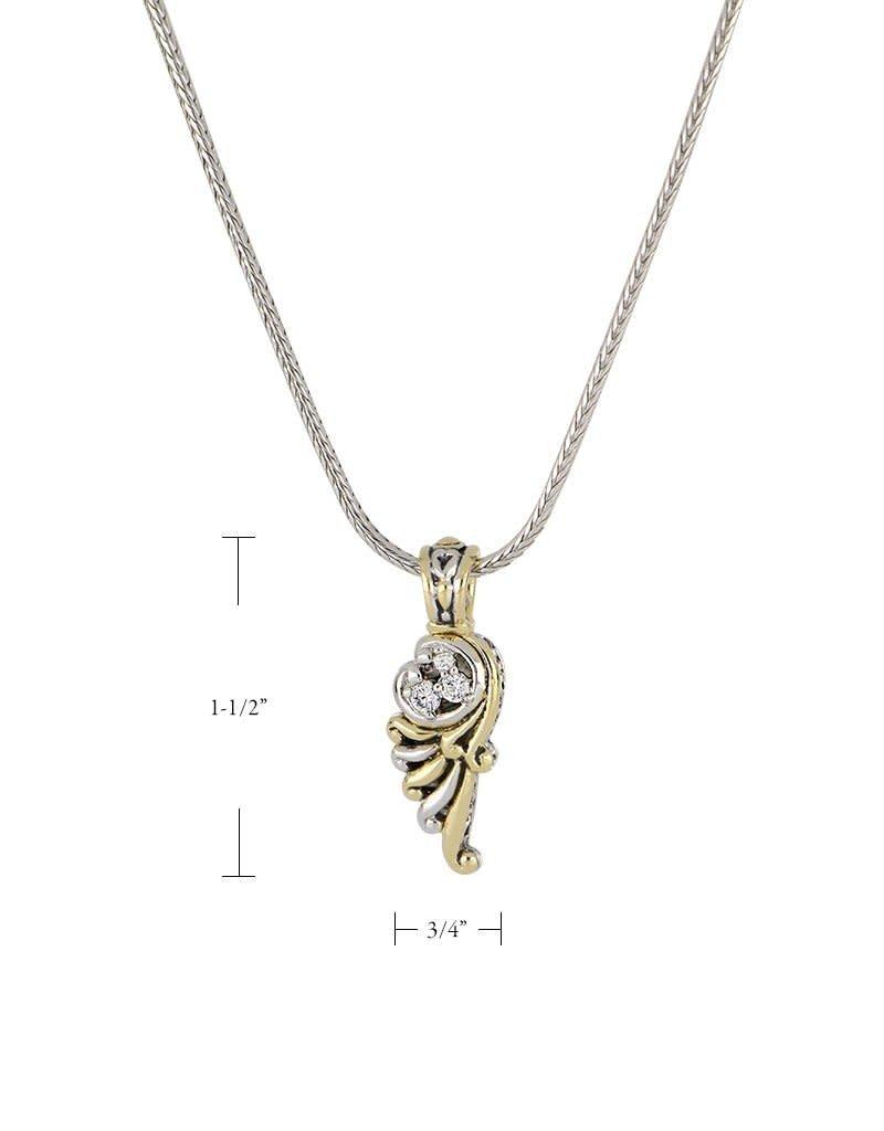 JOHN MEDEIROS K3670-AF03 Little Inspirations Angel Wing SLIDER Charm Necklace