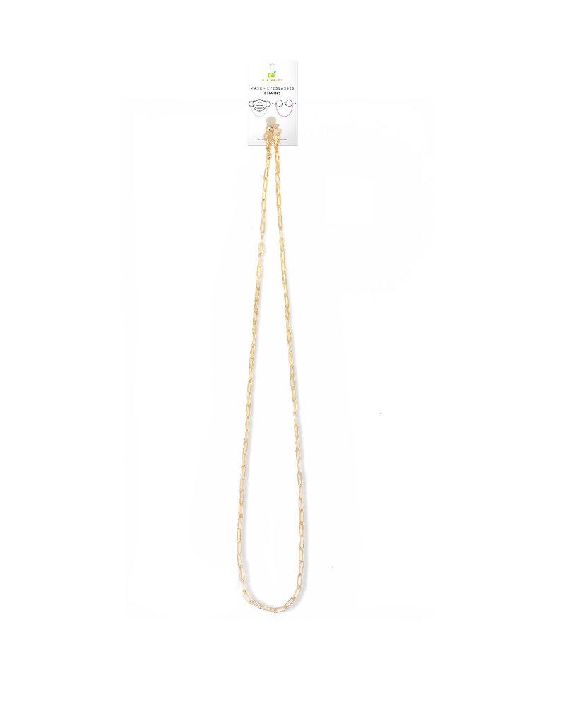 29521 gold small paperclip mask + eyeglasses chain