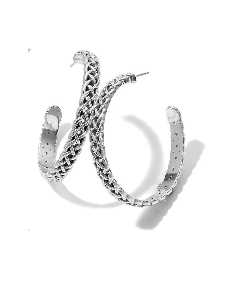BRIGHTON JA7050 Interlok Braid Large Hoop Earrings