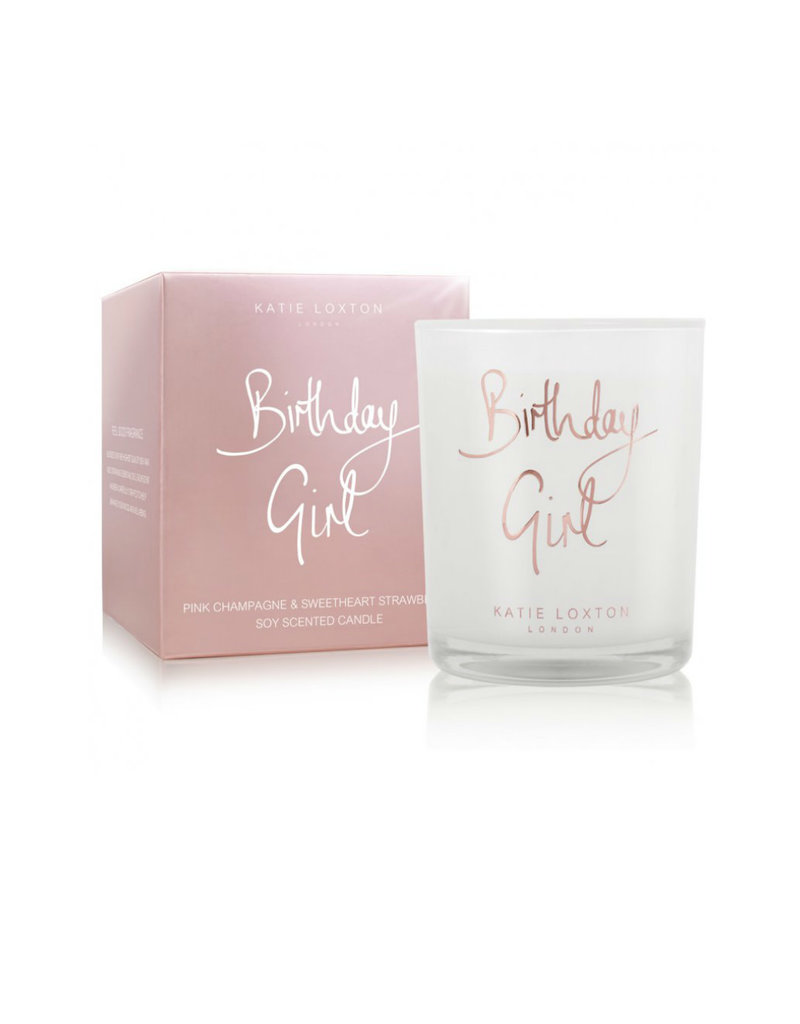 KATIE LOXTON KLC090 Birthday Girl Candle | Pink Champagne And Sweetheart Strawberry