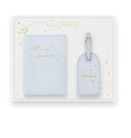 KATIE LOXTON BA0063 Baby Passport Holder and Luggage Tag Gift Set | Little Adventures | Blue