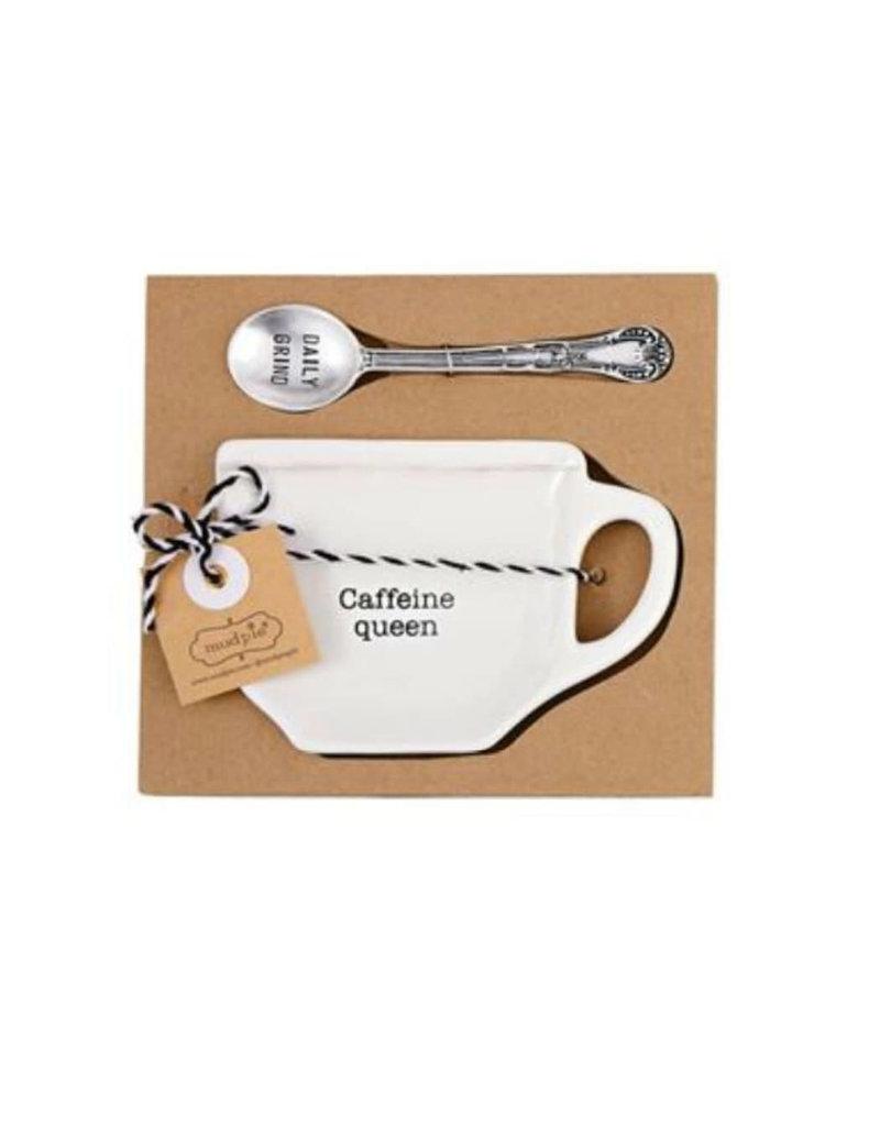 MUD PIE 42600445C CAFFEINE COFFEE SPOON REST SET
