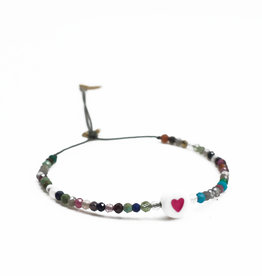 ART5777 KIDDO - 1 heart charm and all over tourmaline stones cord bracelet