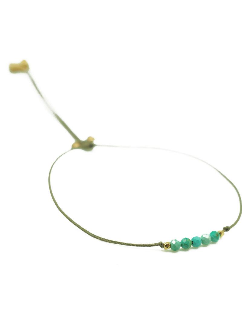 ART3829 New tiny - 5 Greenish turquoises cord bracelet