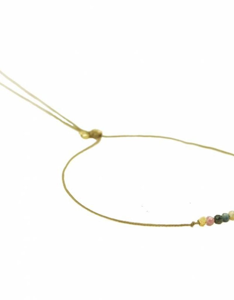 ART3369 New Tiny - 5 tourmalines cord bracelet