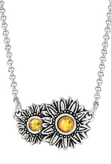 LUCA AND DANNI NK311S Sunflower Necklace Silver Plated
