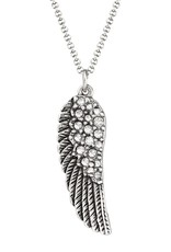 LUCA AND DANNI NK323S Crystal Angel Wing Necklace Silver-Plated
