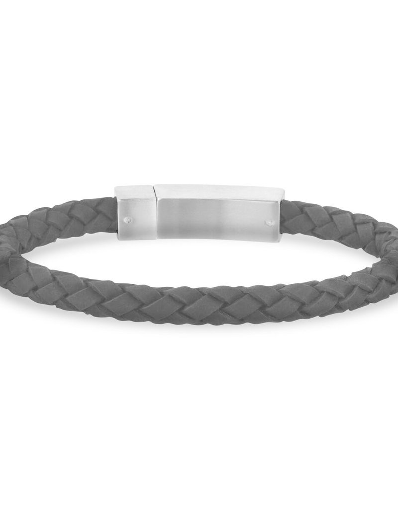 Black Leather Steel Clasp Bracelet