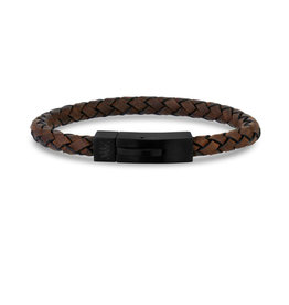 Brown Leather Matte Black Clasp Bracelet