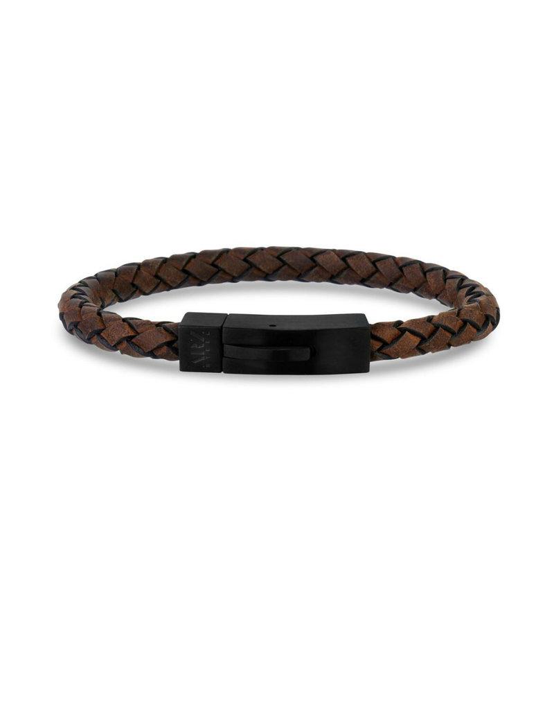 Brown Leather Matte Black Clasp Bracelet