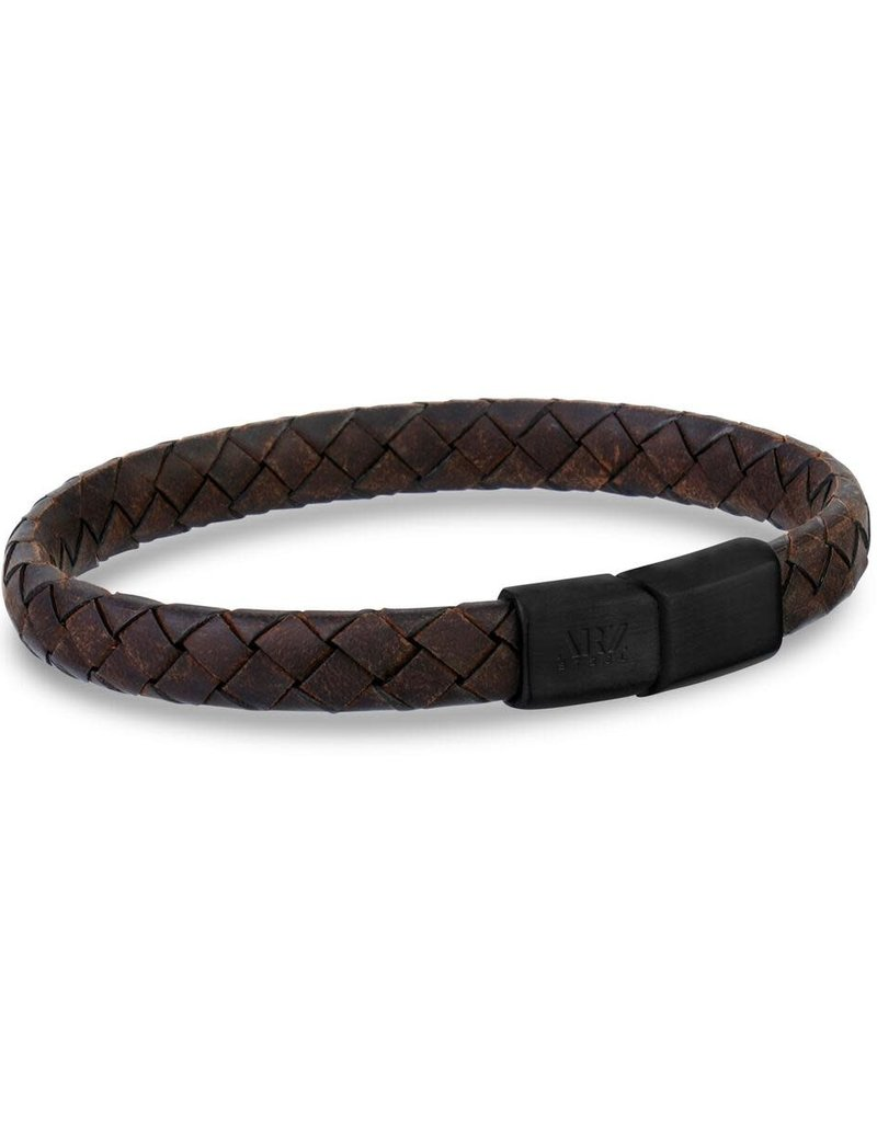 8mm Flat Brown Leather Black Clasp Bracelet