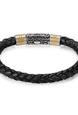 6mm Steel Black Leather Bracelet