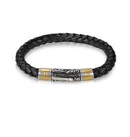 6mm Steel Black Leather Bracelet