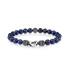 8mm Blue Lapis (Jade) Bead Steel Bracelet