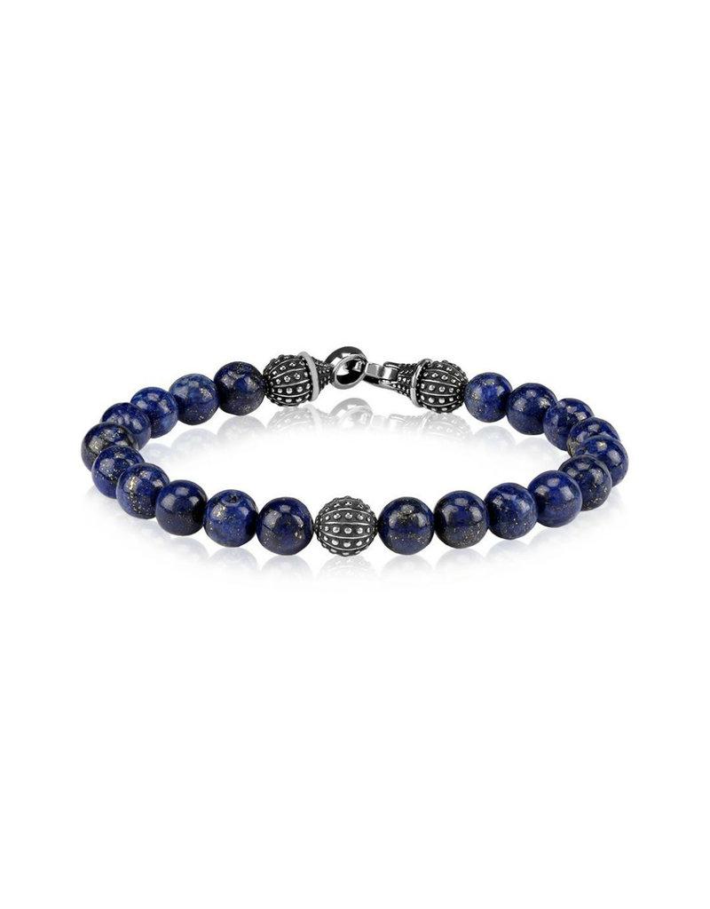8mm Blue Lapis (Jade) Bead Steel Bracelet