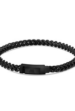 4mm Black Steel Franco Link Bracelet 8""