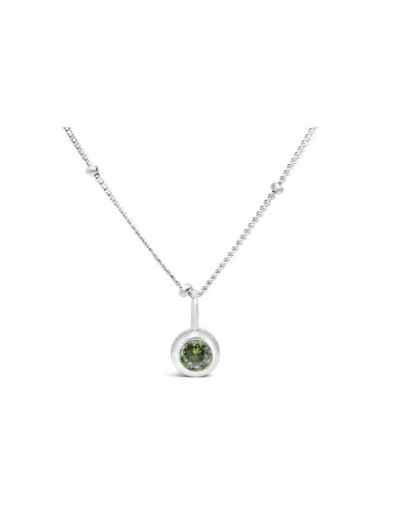 STIA CZ Bezel Necklace - Peridot (August)
