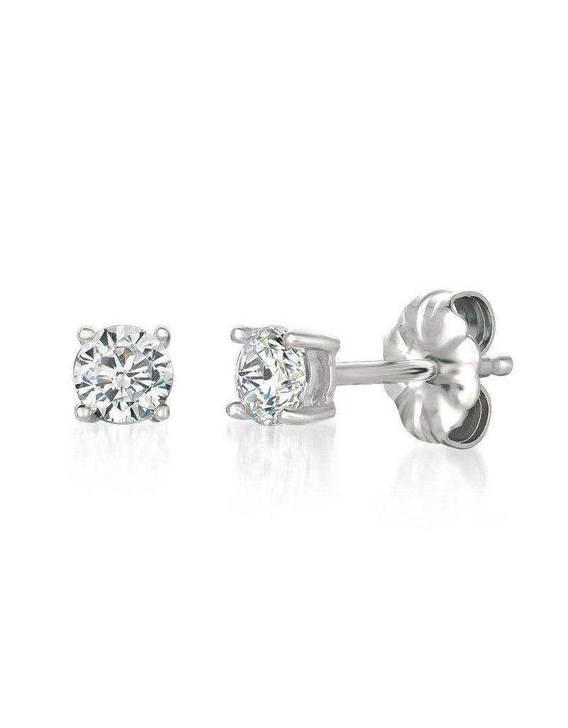 CRISLU 900162E00CZ Solitaire Brilliant Earrings Finished in Pure Platinum - 0.50 Cttw