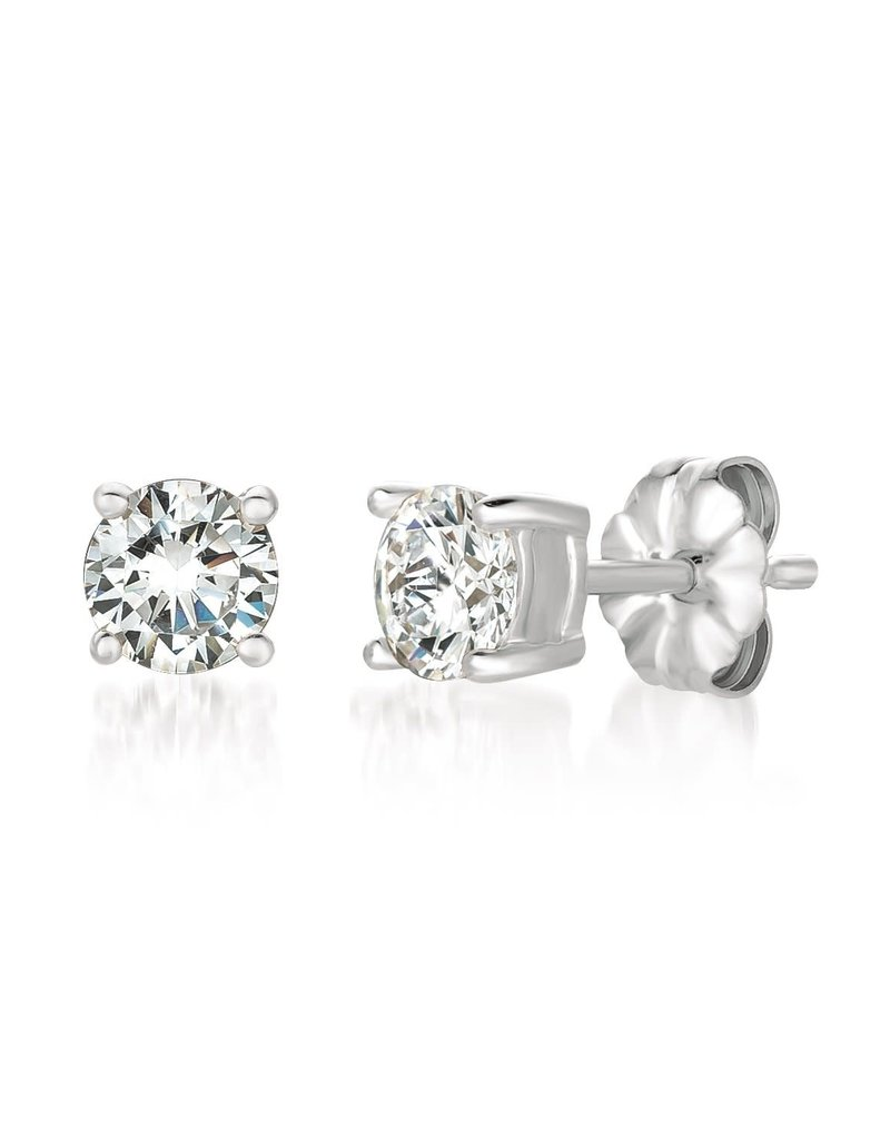 CRISLU 900163E00CZ Solitaire Brilliant Earrings Finished in Pure Platinum - 1.00 Cttw