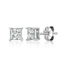 CRISLU 902544E00CZ SSP 1.50 CTTW Solitaire Princess Earrings Finished in Pure Platinum - 1.5 Carat