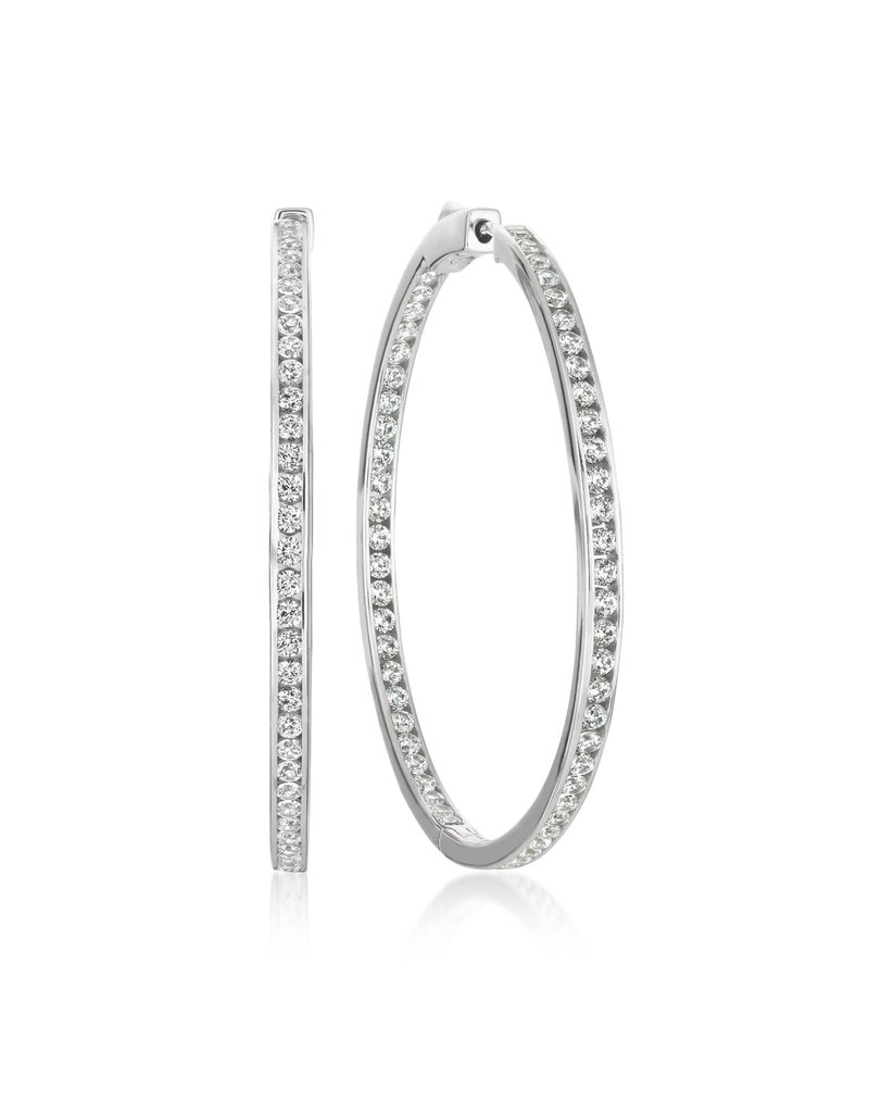 "CRISLU 909308E00CZ SSP 1.50 CTTW Classic Inside Out Hoop Earrings Finished in Pure Platinum - 1.3"" diameter"